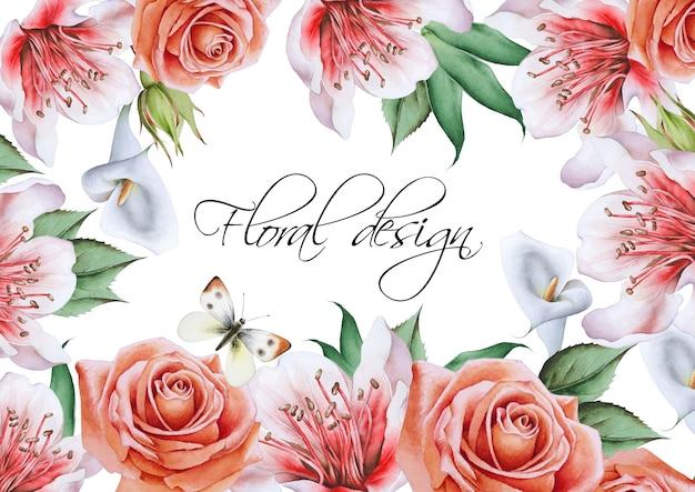 Пригласительная открытка с цветами. нарисованный от руки.
