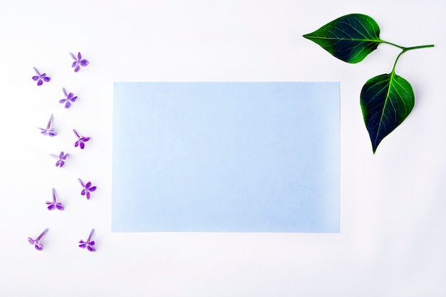 Invitation greeting card with flowers and leaves