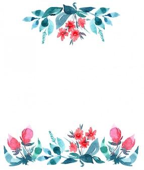 水彩の赤と青の花の飾りとの招待状