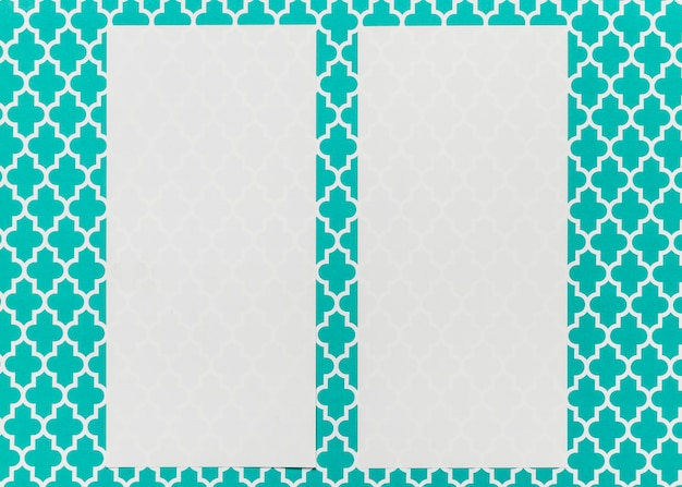 Invitations mock-up on teal background