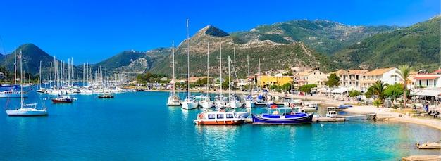 Ионические острова греции - красивая лефкас, вид на порт нидри