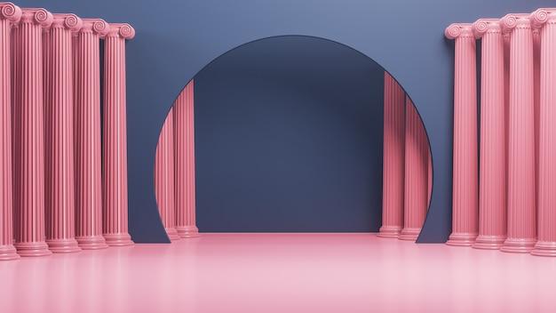 Ionic columns  3d render.