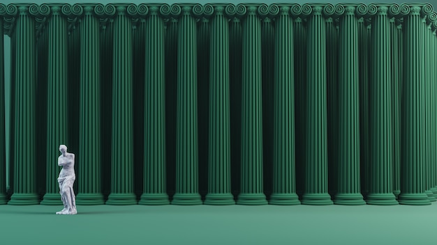 Ionic columns background  3d render.
