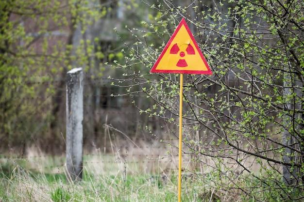 우크라이나 체르노빌 원자력 발전소 소외 지역 근처의 전리 방사선 기호
