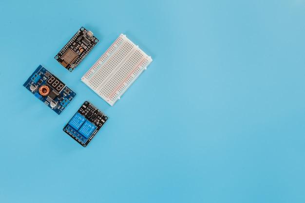 Iot micro-controller nano electronic board and pcb breadboard