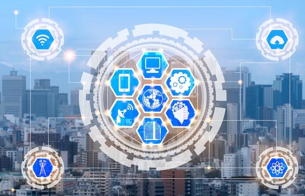 無線通信ネットワークのアイコンとスマートシティのスカイライン。 iotモノのインターネットの概念。