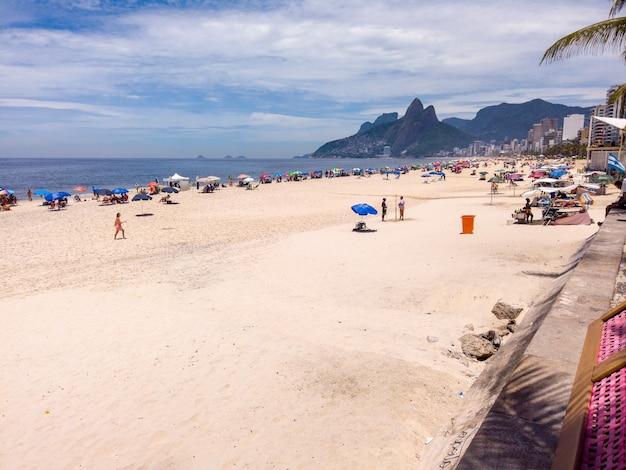 Ipanema beach in rio de janeiro, brazil - january 07, 2021: view of ipanema beach in rio de janeiro.