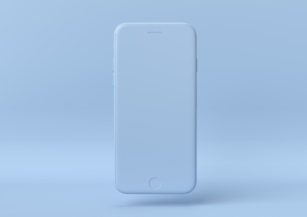 Креативная минимальная летняя идея. концепция синий iphone с пастельных фоне. 3d визуализация.
