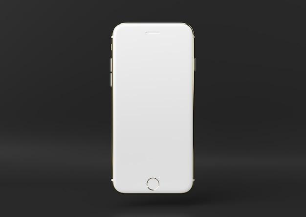 クリエイティブなミニマルラグジュアリー商品のアイデア。黒の背景と白と金のiphoneをコンセプトします。