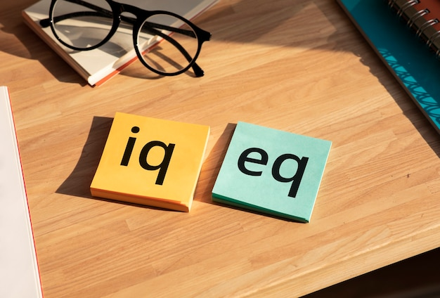 Iq and eq concepts.education ro development for life.top view