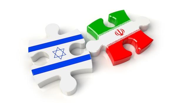 퍼즐 조각에 이란과 이스라엘 국기. 정치적인 관계 개념입니다. 3d 렌더링