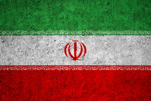 Iran flag painted on grunge wall
