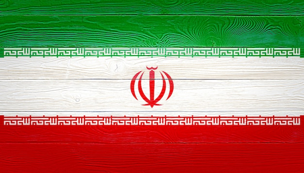 Iran flag painted on wooden planks