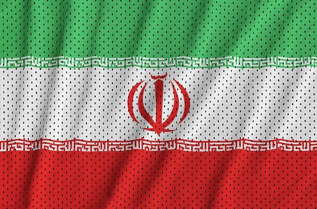 Iran flag printed on a polyester nylon sportswear mesh fabric