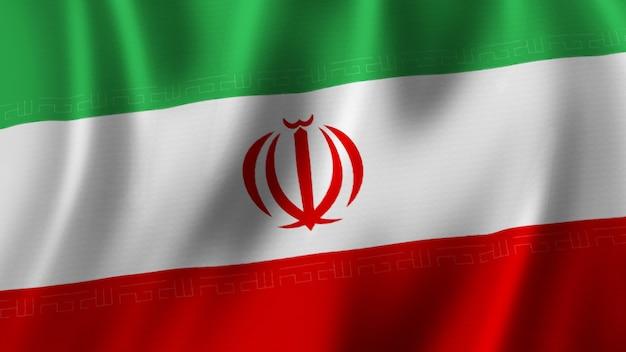 패브릭 질감으로 고품질 이미지로 근접 촬영 3d 렌더링을 흔들며 이란 국기