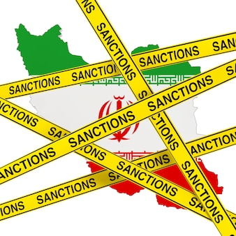 Iran sanctions concept. yellow tape with sanctions sign against of iran map with flag on a white background. 3d rendering