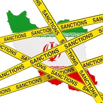 Концепция санкций против ирана. желтая лента со знаком санкций против карты ирана с флагом на белом фоне. 3d рендеринг