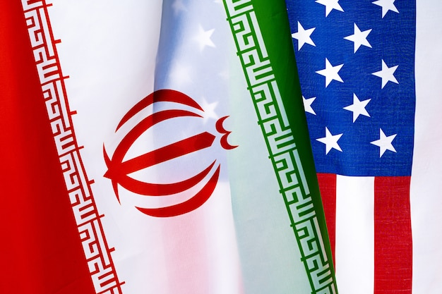 Iran and united states of america flag on white