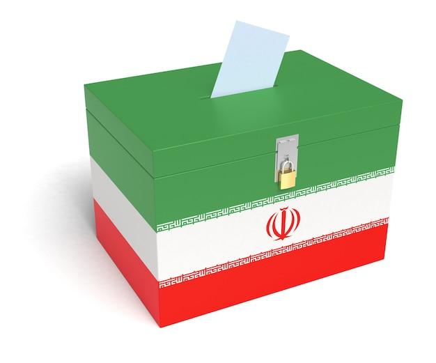 이란 국기 투표함. 격리 된 흰색 배경입니다. 3d 렌더링.