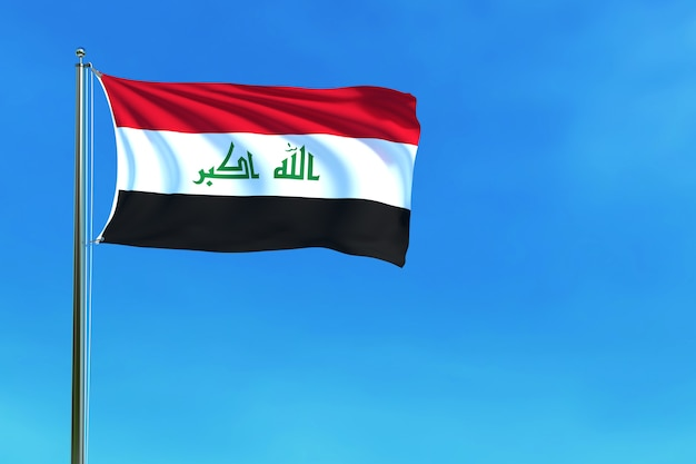 Iraq flag on the blue sky background 3d rendering