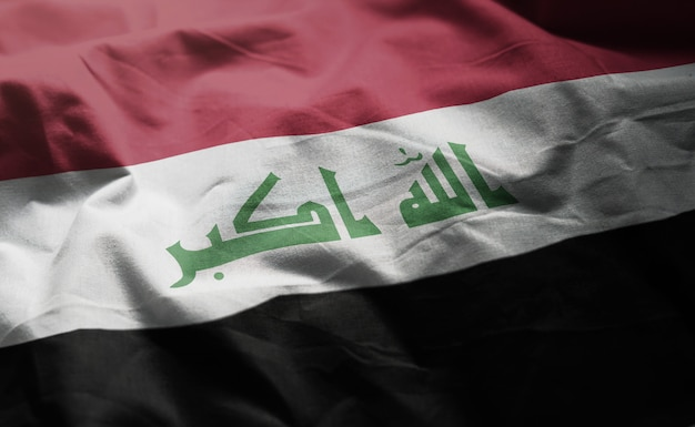 Iraq flag rumpled close up
