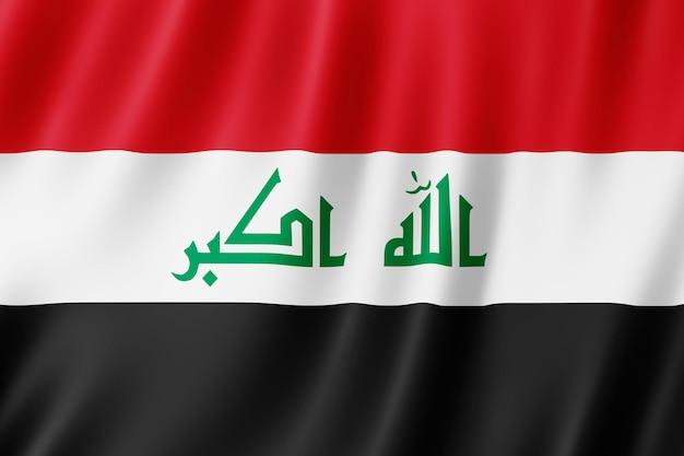 바람에 펄럭이는 이라크 국기.