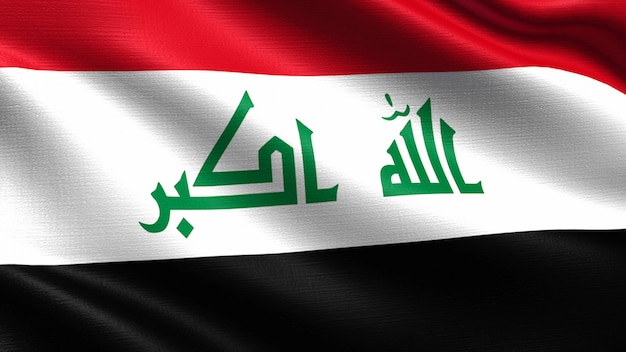 Iraq flag, with waving fabric texture