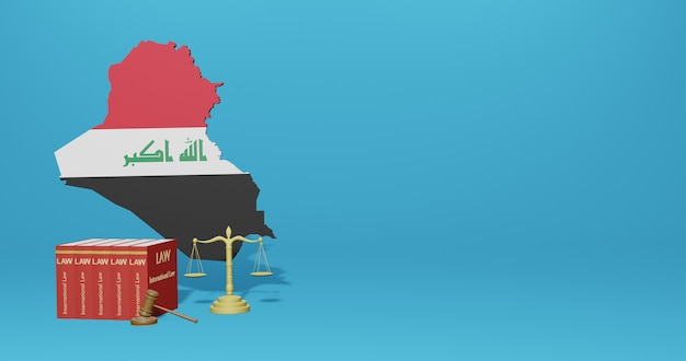 Iraq law for infographics, social media content in 3d rendering