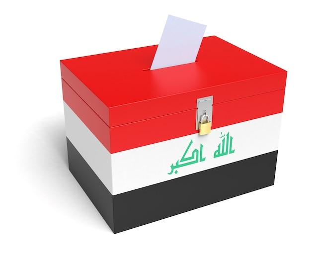 이라크 국기 투표함. 격리 된 흰색 배경입니다. 3d 렌더링.
