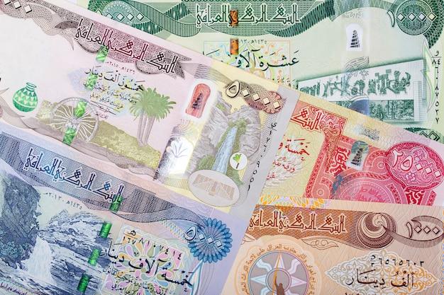 Iraqi money. dinar business background