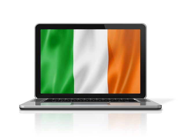Ireland flag on laptop screen isolated on white. 3d illustration render.