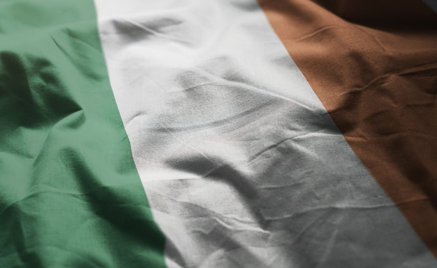 Ireland flag rumpled close up