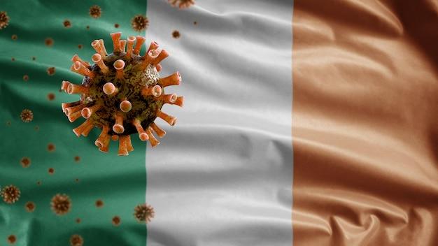Развевающийся флаг ирландии и концепция ncov по случаю коронавируса 2019