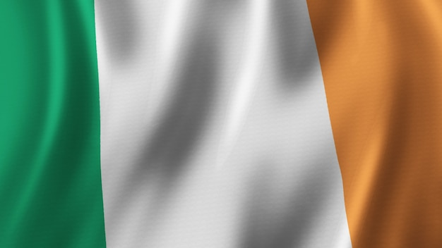 Ireland flag waving closeup 3d rendering with high quality image with fabric texture
