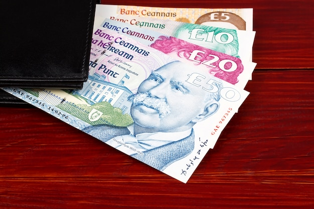 Ireland republic pounds in the black wallet