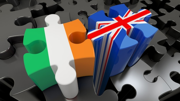 Ireland and united kingdom flags on puzzle pieces. political relationship concept. 3d rendering