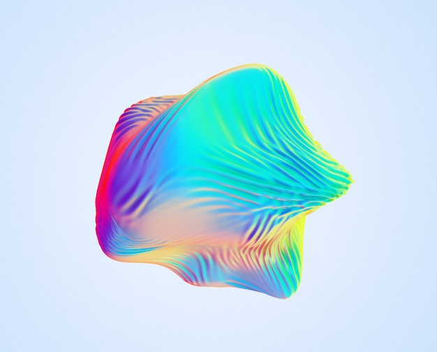 Iridescent abstract wavy sphere object.