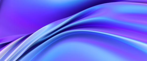무지개 빛깔의 크롬 물결 모양의 그라데이션 천 패브릭 추상적 인 배경, 자외선 홀로그램 호일 질감, 액체 표면, 잔물결, 금속 반사. 3d 렌더링 그림입니다.