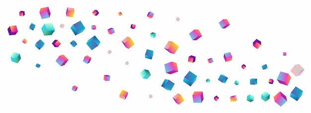 Iridescent element vector panoramic white background. rainbow abstract brick image. structure box template. holographic polygon metal cover.