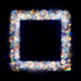 Несколько радужных неоновых пятен боке в квадратной рамке
