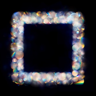 Iridescent neon colored multiple bokeh spots in square frame