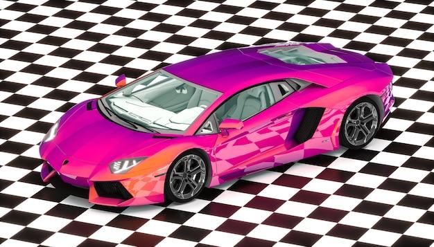 Iridescent purple supercar on checkered floor