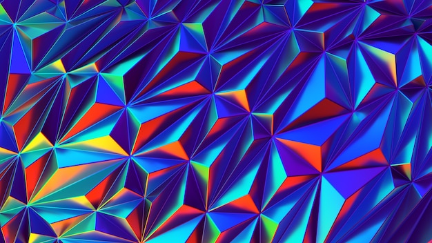 Iridescent shiny low poly background