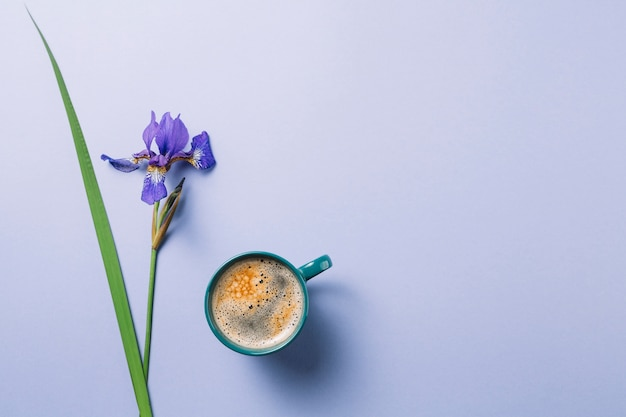 Iris blueflag flower with cup of coffee over purple surface