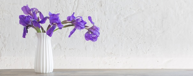 背景の白い古い壁の上に花瓶のアイリス