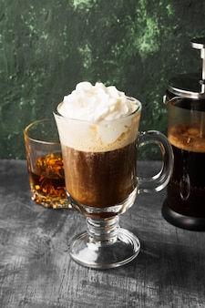 Irish coffee with whisky