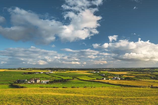 Панорамный вид на ирландскую сельскую местность. зеленые поля на фоне голубого облачного неба. фермерские коттеджи среди мирной природы. покрытые травой луга на закате. потрясающий вид на горизонт.