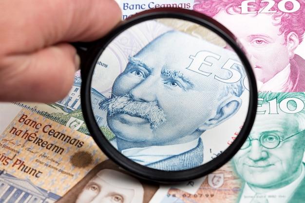 Ирландский фунт в увеличительном стекле