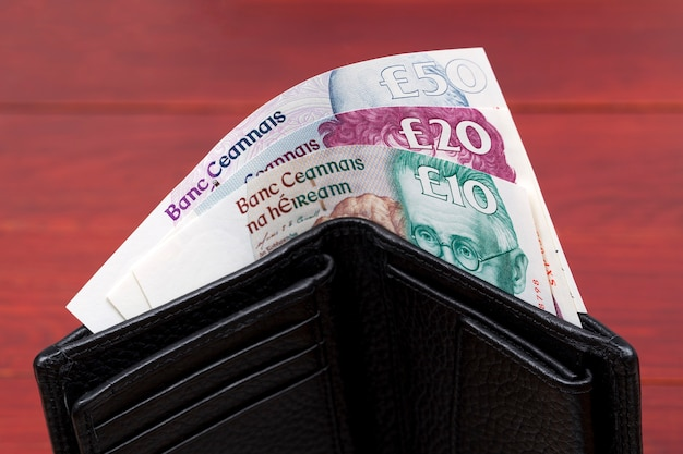 Irish pounds in a black wallet