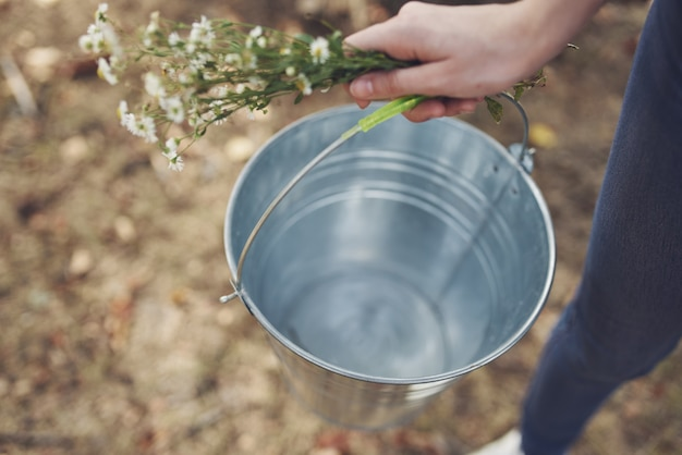 Iron bucket countryside nature lifestyle